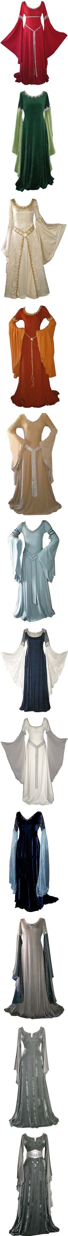 Medieval Gowns I by savagedamsel on Polyvore featuring dresses, medieval, gowns, medieval dresses, costumes, costume, long dresses, fantasy, blue gown and blue dress