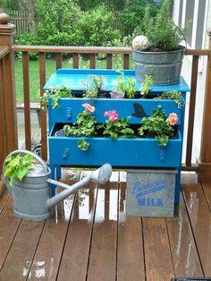 Whimsical {Blue} Dresser Planter!