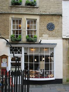The birthplace of the Sally Lunn bun, Bath, England. We ate at a table on the third floor by the window on the left.