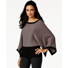 Alfani Colorblocked Poncho Sweater ($45) ❤ liked on Polyvore featuring tops, sweaters, zinc, block tops, alfani, poncho style sweater, block sweater and colorblock sweater