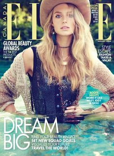 Kate Bock with bohemian looks wears knitted swimsuits, western style boots as well as denim for the blonde to wear for ELLE Canada Magazine January 2016 cover shoot