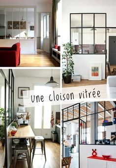 an interior window make you instantly feel bohmien and your house much more Parisienne ^_^ cloison_vitree_sokeen Home Living Room, Living Spaces, Casa Milano, Interior Windows, Home And Deco, My New Room, My Dream Home, Interior Inspiration, Home Kitchens