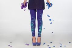 Violet fields  dark violet leggings with flower by ZIBtextile, $50.00
