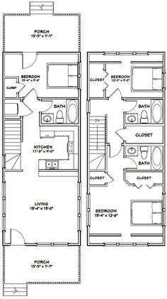 PDF house plans, garage plans, & shed plans. Narrow House Plans, Small House Floor Plans, Cabin Floor Plans, Modern House Plans, A Frame Floor Plans, A Frame House Plans, Narrow House Designs, Shed House Plans, 30x40 House Plans