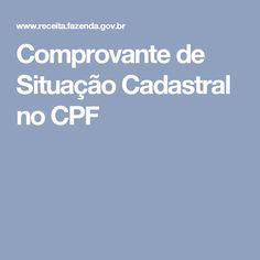 Comprovante de Situação Cadastral no CPF