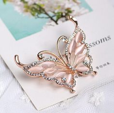 Gorgeous Micro Pave Zirconia Rose Gold Plated Butterfly Brooch with Cat's Eye