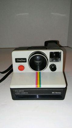 Polaroid SX-70 One Step White Rainbow Stripe Instant Land Camera #Polaroid