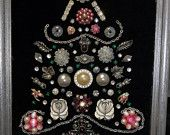 Vintage jewelry Christmas tree framed picture, pinks and silver on a black background, silver wooden frame