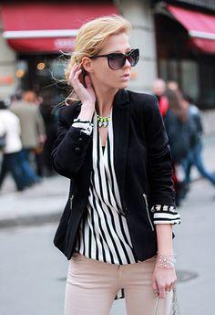 chic stripe  , bershka in Blazers, Choies in Shirt / Blouses, Pull   & Bear in Jeans, H in Jewelry, H in Jewelry, Stradivarius in Heels / Wedges