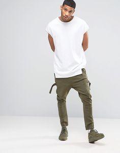 Image 4 - ASOS - Pantalon de jogging à entrejambe bas et galons - Kaki clair