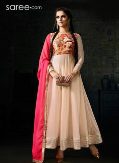 CREAM LYCRA ANARKALI SUIT WITH EMBROIDERY WORK