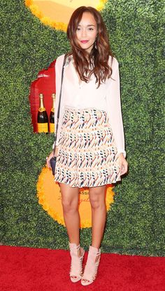 Ashley Madekwe Wearing an Etro SKirt + Herve Leger sandals At The 3rd Annual Veuve Clicquot Polo Classic 2