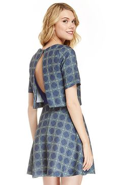 JOA Structured Skater Dress in Blue S - L | DAILYLOOK
