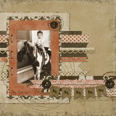 My Dad, Age 2  ~ Cute heritage childhood page with machine sewed edging and a simple and stylish paper strip photo matt.