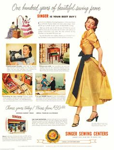 "1951 Ad Singer sewing centers woman dressmaker photo Print Ad 10.5""x13 