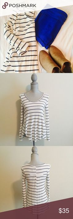 American Rag Striped Top NWT American Rag blue and white striped thermal top. Never worn. American Rag Tops Tees - Long Sleeve