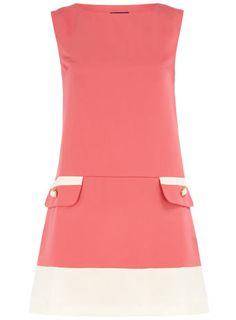 Pink pocket trim dress