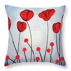 Red Poppies Throw Pillow for Sale by Jilian Cramb - AMothersFineArt Fabric Painting On Clothes, Painted Clothes, Sketching Techniques, Bright Art, Pillow Reviews, Pillow Sale, Saturated Color, Red Poppies, Basic Colors