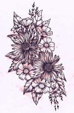 hip tattoo. flowers