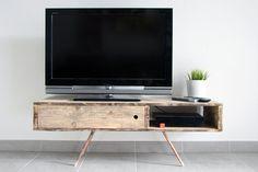 Meuble TV/Table basse UMESH en bois de palette recyclé brut