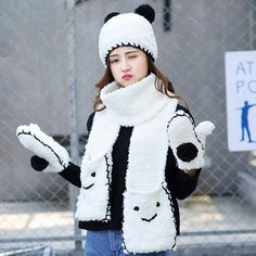 Cartoon panda plush hat scarf and gloves set for women winter wear