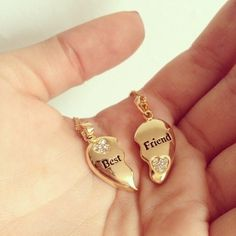 Best friend necklace heart gold broken friend diamond necklace