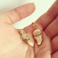 Best friend necklace heart gold broken friend diamond necklace