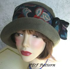 Vintage Womens Flapper Hat Pattern With Upcycled Trim Easy To Make Instant Download by kalliedesigns on Etsy https://www.etsy.com/listing/107257553/vintage-womens-flapper-hat-pattern-with