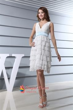 White Lace Wedding Dress With Sash, Short Lace V Neck Wedding Dress  $152