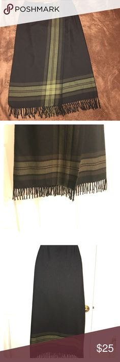 Faux Wrap Black /Stripped with Fringe Hem Faux Wrap Black /Strip Vertical & Horizontal Fringe Hem 100% Pure Wool Valerie Stevens Skirts Maxi