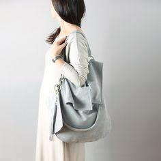Soft leather hobo bag in grey suede natural leather - slouchy leather hobo bag, minimalist bag, chic hobo bag