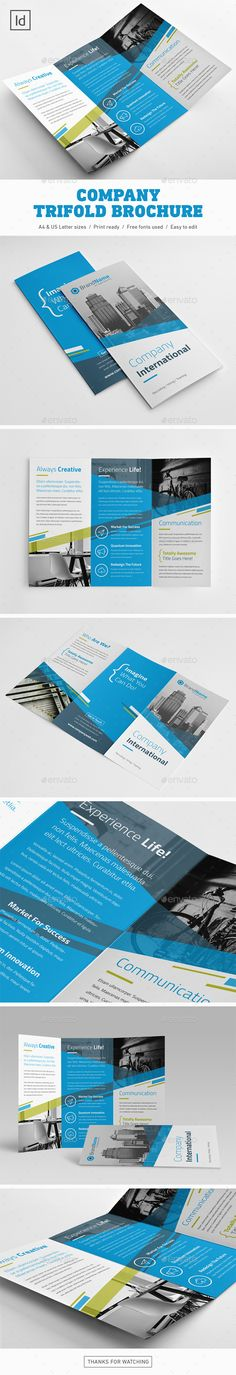 Company Trifold Brochure Design Template - Brochures Print Template InDesign INDD. Download here: https://graphicriver.net/item/company-trifold-brochure/19182487?ref=yinkira