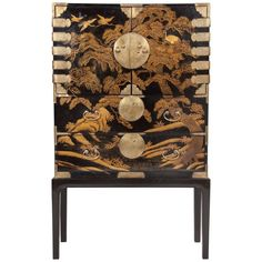 Striking Japanese Gilt and Black Lacquer Cabinet on Later Stand   From a unique collection of antique and modern lacquer at https://www.1stdibs.com/furniture/asian-art-furniture/lacquer/