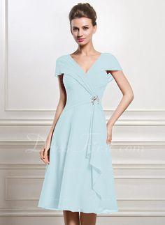 8f56a4de401   143.99  A-Line Princess V-neck Knee-Length Chiffon Mother of the Bride  Dress With Beading Sequins Cascading Ruffles (008056884)
