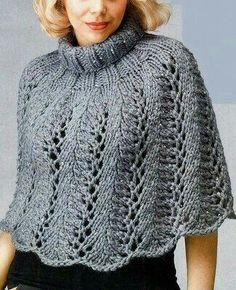 por favor si pueden indicar el tutorial gracias Poncho Shawl, Knitted Poncho, Knitted Shawls, Crochet Shawl, Knit Crochet, Alpaca Scarf, Capelet Knitting Pattern, Knitting Patterns Free, Free Knitting