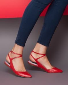 Red Strap Pointed Toe Ballet Flat ... Perfect with summer dress or pair of skimmers