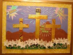 Easter Bulletin Board Idea For Sunday School - MyClassroomIdeas. Catholic Bulletin Boards, Easter Bulletin Boards, Christian Bulletin Boards, Preschool Bulletin Boards, Bullentin Boards, Sunday School Classroom, Sunday School Crafts, Classroom Ideas, Classroom Door