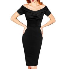 """This stunning little black hourglass dress is destined to become your new best friend. Featuring a demure off-the-shoulder neckline, short sleeves, and fabulously modern asymmetrical bodice ruching, this dress is beautifully constructed of a soft, substantial, stretch-cotton-blend fabric and 6"""" rear walking vent. Lined bodice, concealed rear zipper, machine wash, cold."""