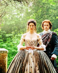 Claire and Jamie are about to enter the church for their wedding ceremony. | Outlander S1E7 'The Wedding' on Starz | Costume Designer TERRY DRESBACH www.terrydresbach.com