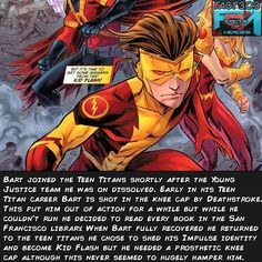 Impulse joined the Teen titans after young justice dissolved but was shot in the knee..