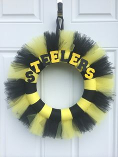 Hey, I found this really awesome Etsy listing at https://www.etsy.com/listing/204242591/steelers-wreath-football-wreath-tulle