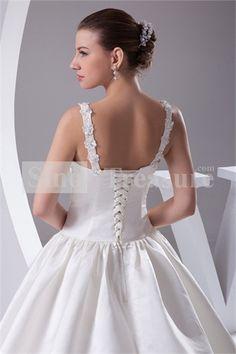 Ivory Appliques Sleeveless Ball Gown Church V-neck Satin Wedding Dress 2013 -Wedding & Events-Wedding Dresses-Satin Material Wedding Dresses
