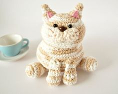Chubby Tan and White Crochet Cat