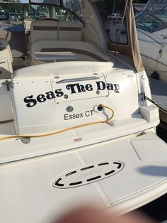 Seas the Day Clever Boat Names, Ski Boats, Pontoon Boats, Boat Interior, Yacht Boat, Yachts, Boating, Seas, Summer Fun