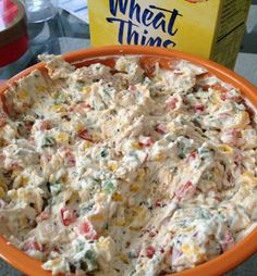 Skinny Poolside Dip - 1 red pepper, 2 jalapeños (unseeded), 1 can corn, 1/2 can diced olives, 16 oz fat free cream cheese (softened), 1 pkg Hidden Valley Ranch dip seasoning mix. Mix together. Serve with crackers or raw vegetables.