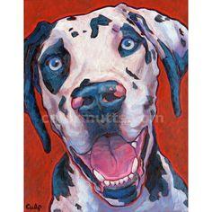 SALE Harlequin Great Dane Dog Art Original Painting 11x14 by Lynn Culp