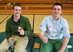 Canton residents Bobby Ivanoski and Billy Martin were all smiles during Wednesdays American Red Cross blood drive. Over 60 students donated blood during lunch.