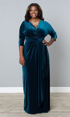 Feel luxurious in our plus size Wrapped in Luxury Dress.  A true wrap maxi designed in soft velvet, fit for royalty.  :)  www.kiyonna.com  #KiyonnaPlusYou  #MadeintheUSA  #Formal
