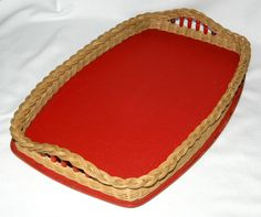Vintage woven wicker edge & beads red serving tray 1950s-60s, vinyl coating