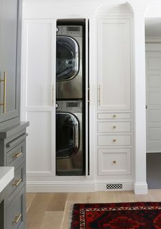 Built-ins for the practical but ugly washer and dryer